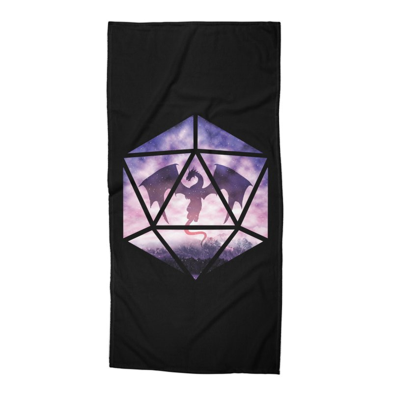 Purple Sky Dragon D20 Accessories Beach Towel by maratusfunk's Shop