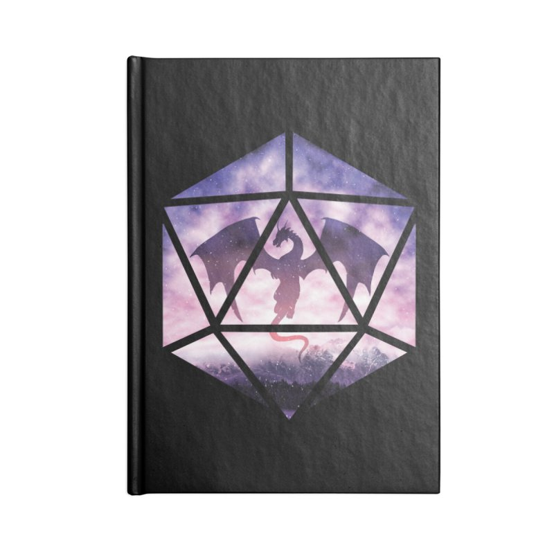 Purple Sky Dragon D20 Accessories Blank Journal Notebook by maratusfunk's Shop