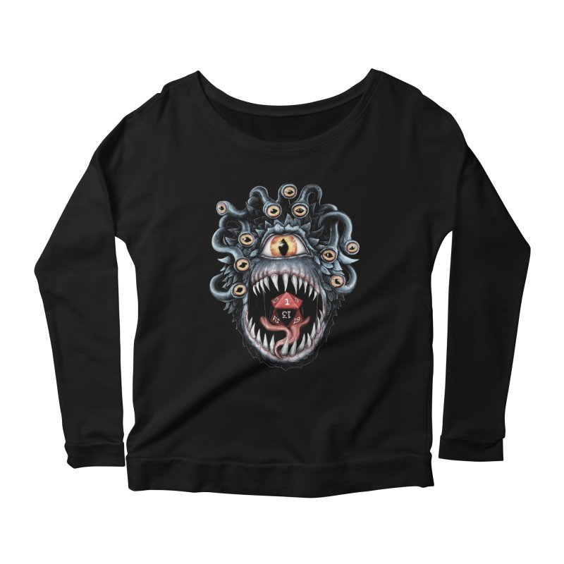 In the Beholder D20 Women's Longsleeve Scoopneck  by maratusfunk's Shop