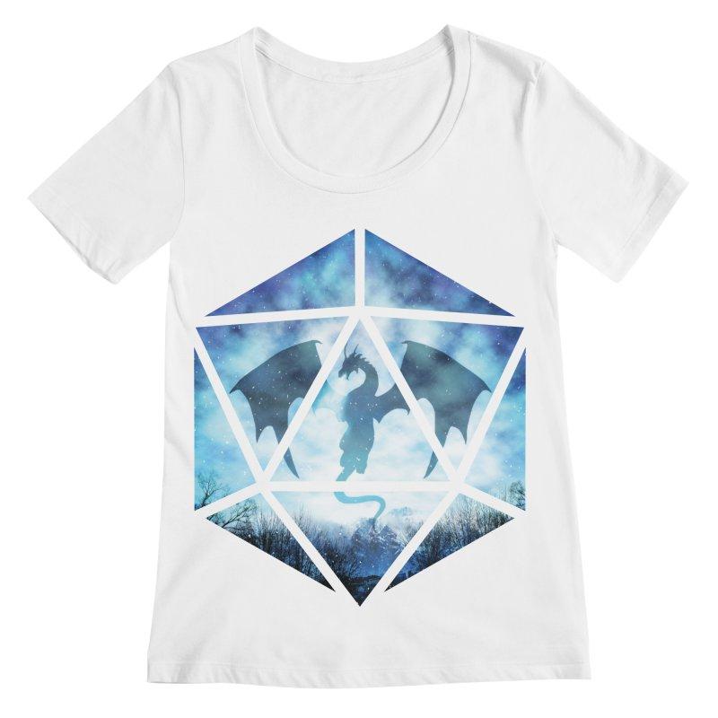 Blue Sky Ice Dragon D20 Women's Scoopneck by maratusfunk's Shop