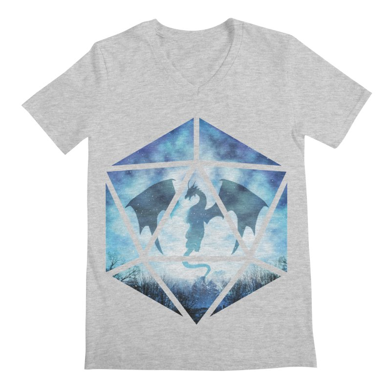 Blue Sky Ice Dragon D20 Men's V-Neck by maratusfunk's Shop