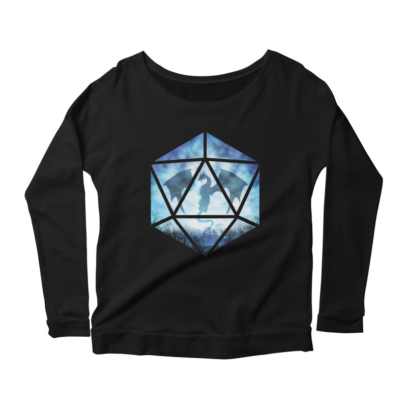 Blue Sky Ice Dragon D20 Women's Longsleeve Scoopneck  by maratusfunk's Shop
