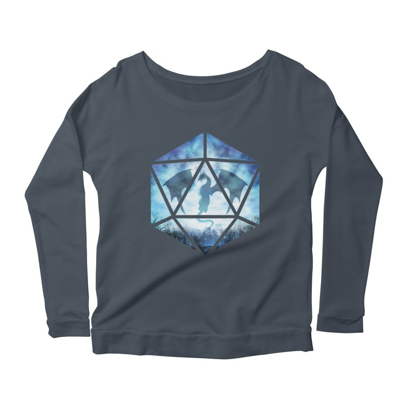 Blue Sky Ice Dragon D20 Women's Scoop Neck Longsleeve T-Shirt by maratusfunk's Shop
