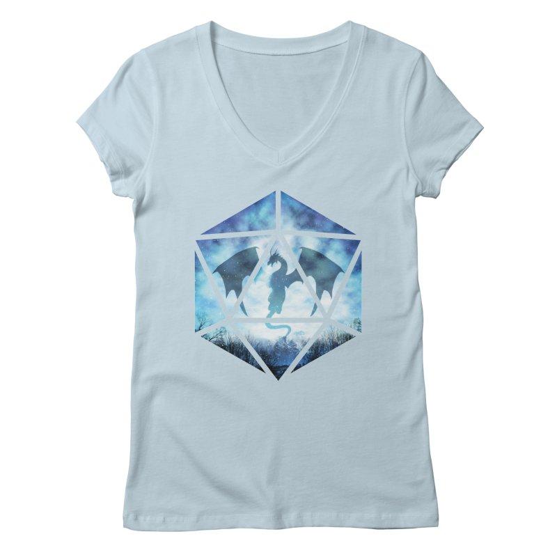Blue Sky Ice Dragon D20 Women's V-Neck by maratusfunk's Shop