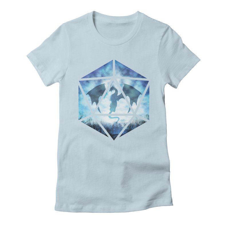 Blue Sky Ice Dragon D20 Women's Fitted T-Shirt by maratusfunk's Shop