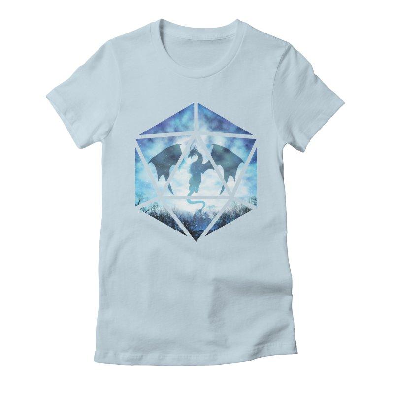 Blue Sky Ice Dragon D20 Women's Fitted T-Shirt by maratusfunk's Shop