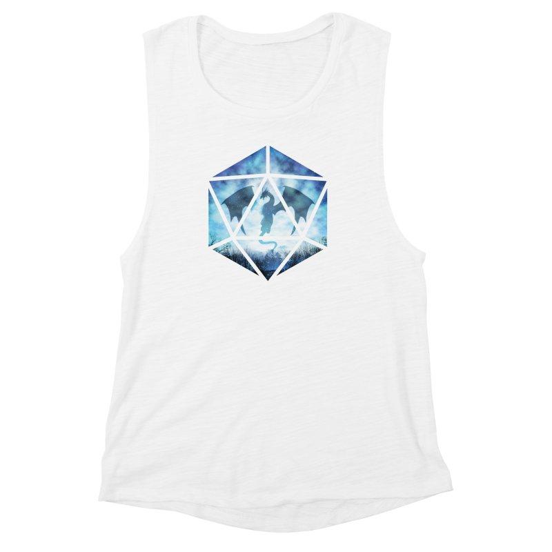 Blue Sky Ice Dragon D20 Women's Muscle Tank by maratusfunk's Shop