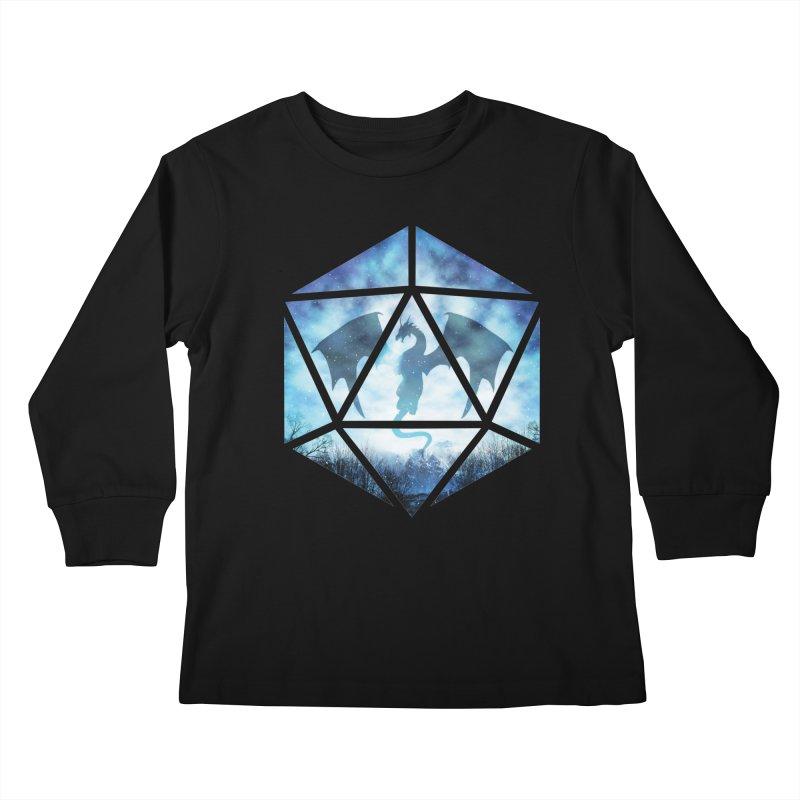 Blue Sky Ice Dragon D20 Kids Longsleeve T-Shirt by maratusfunk's Shop