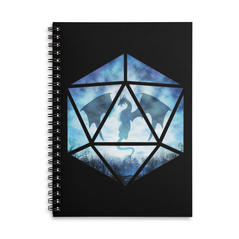 Blue Sky Ice Dragon D20 Accessories Lined Spiral Notebook by maratusfunk's Shop