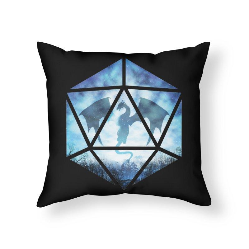 Blue Sky Ice Dragon D20 Home Throw Pillow by maratusfunk's Shop