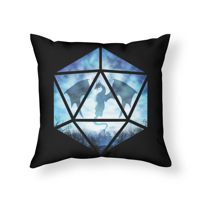 Blue Sky Ice Dragon D20 Home Throw Pillow by maratusfunk's Shop