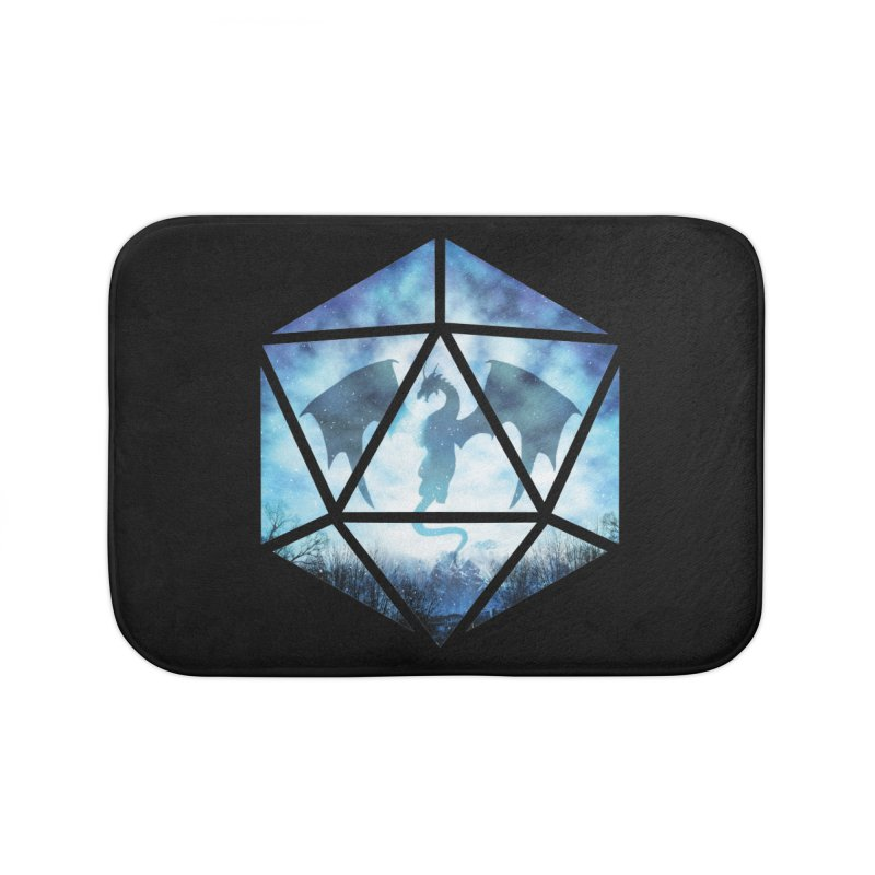 Blue Sky Ice Dragon D20 Home Bath Mat by maratusfunk's Shop