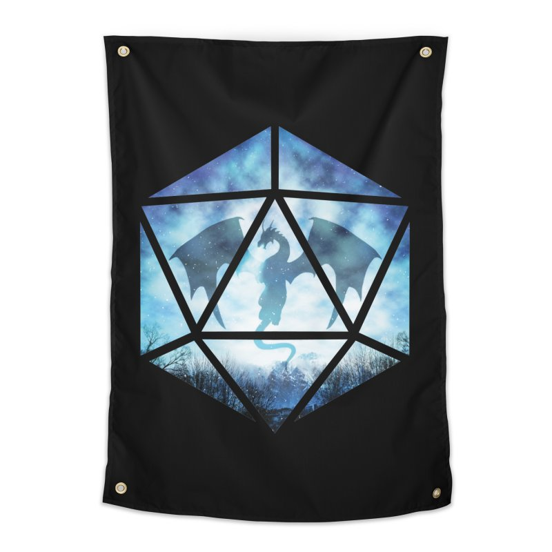 Blue Sky Ice Dragon D20 Home Tapestry by maratusfunk's Shop