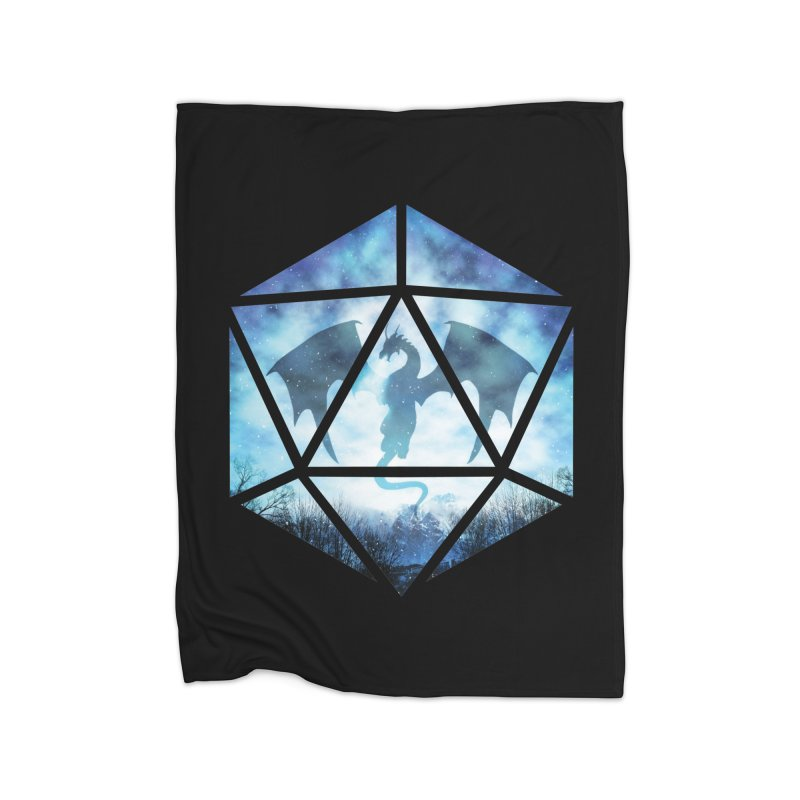 Blue Sky Ice Dragon D20 Home Fleece Blanket Blanket by maratusfunk's Shop
