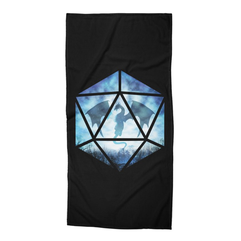 Blue Sky Ice Dragon D20 Accessories Beach Towel by maratusfunk's Shop