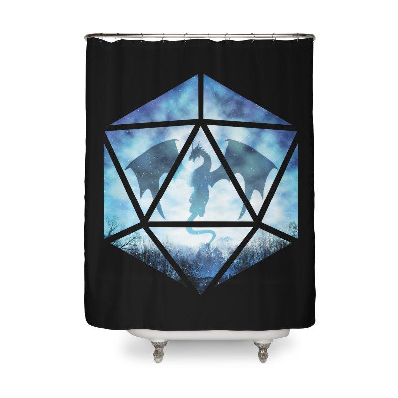 Blue Sky Ice Dragon D20 Home Shower Curtain by maratusfunk's Shop