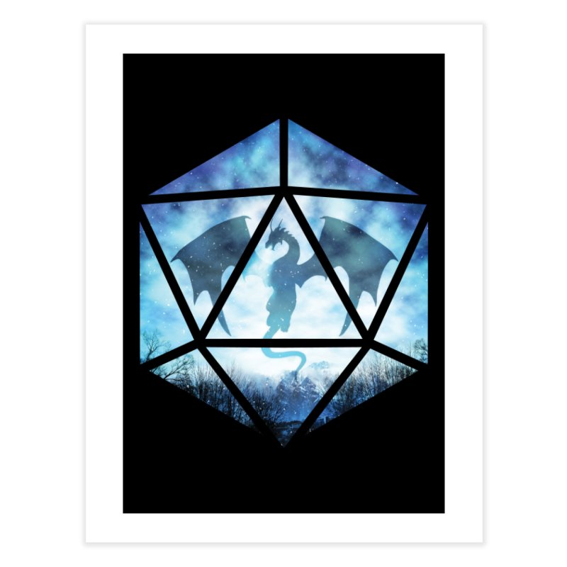 Blue Sky Ice Dragon D20 Home Fine Art Print by maratusfunk's Shop