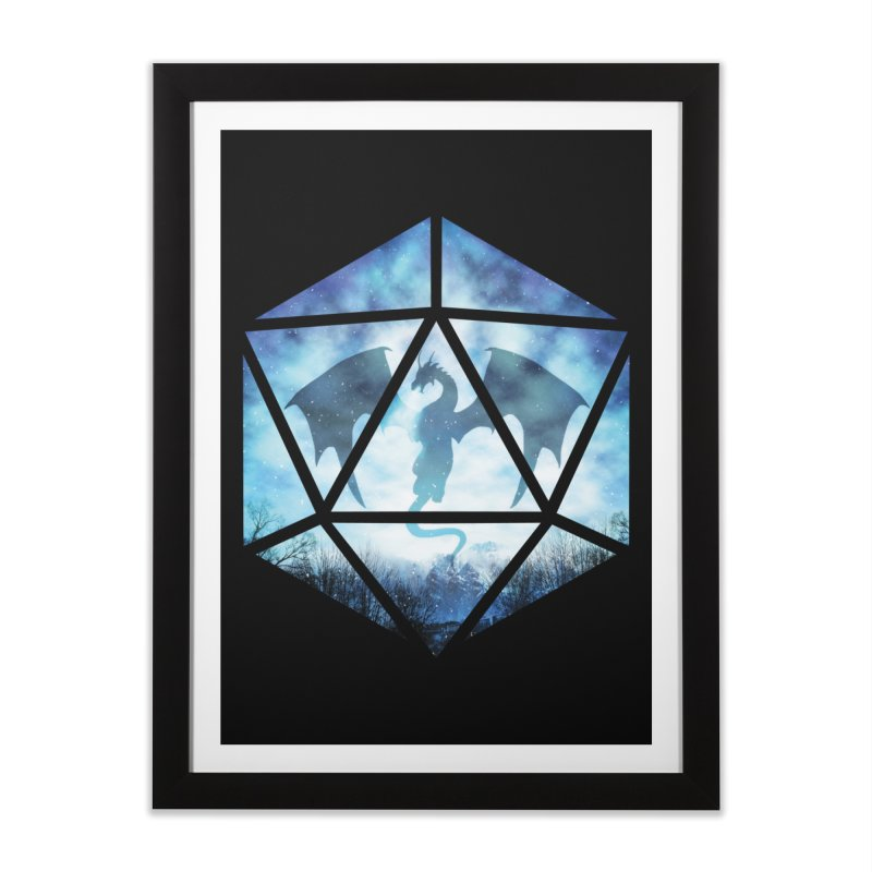Blue Sky Ice Dragon D20 Home Framed Fine Art Print by maratusfunk's Shop