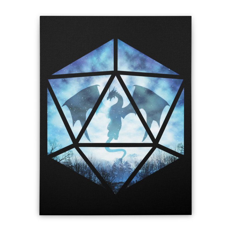 Blue Sky Ice Dragon D20 Home Stretched Canvas by maratusfunk's Shop