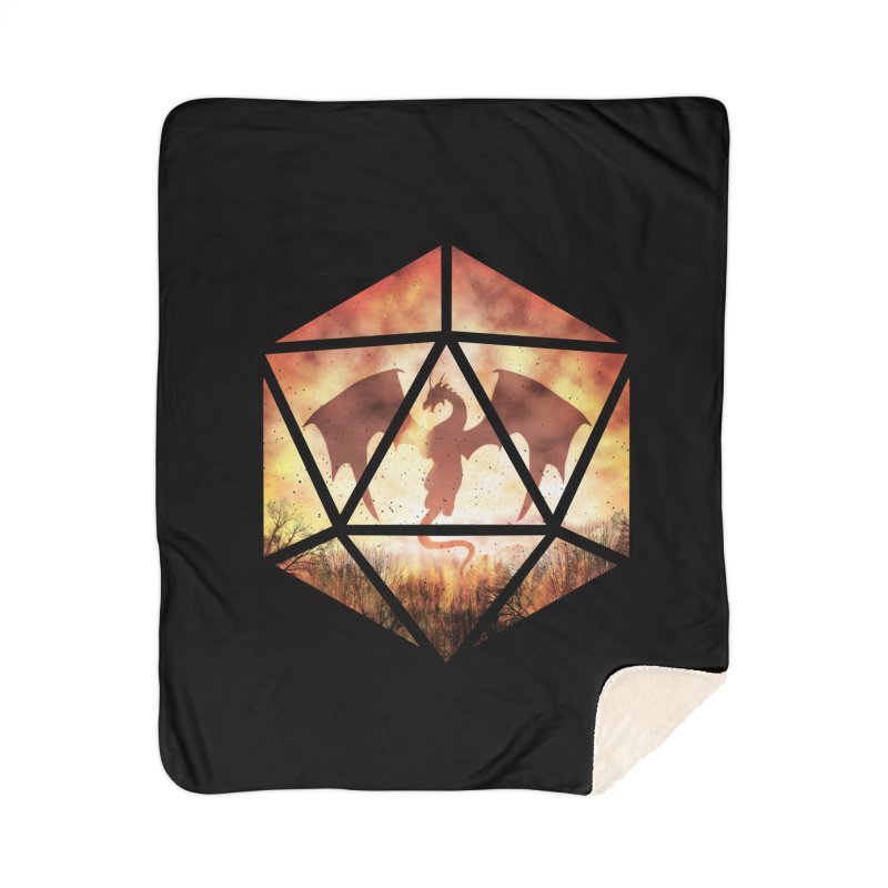 Fire Dragon D20 Home Sherpa Blanket Blanket by maratusfunk's Shop