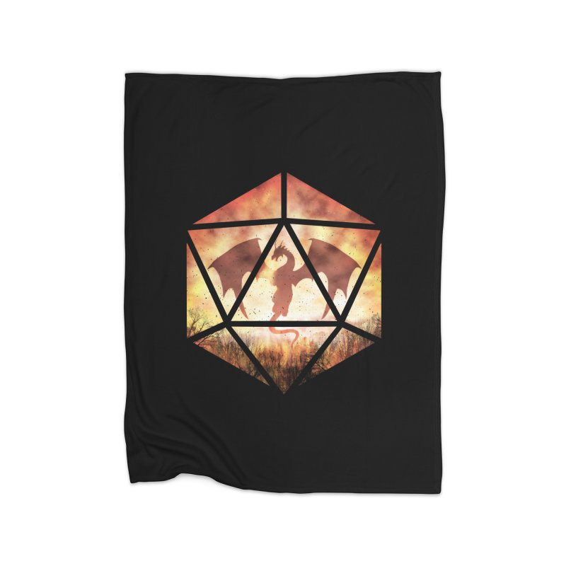 Fire Dragon D20 Home Fleece Blanket Blanket by maratusfunk's Shop