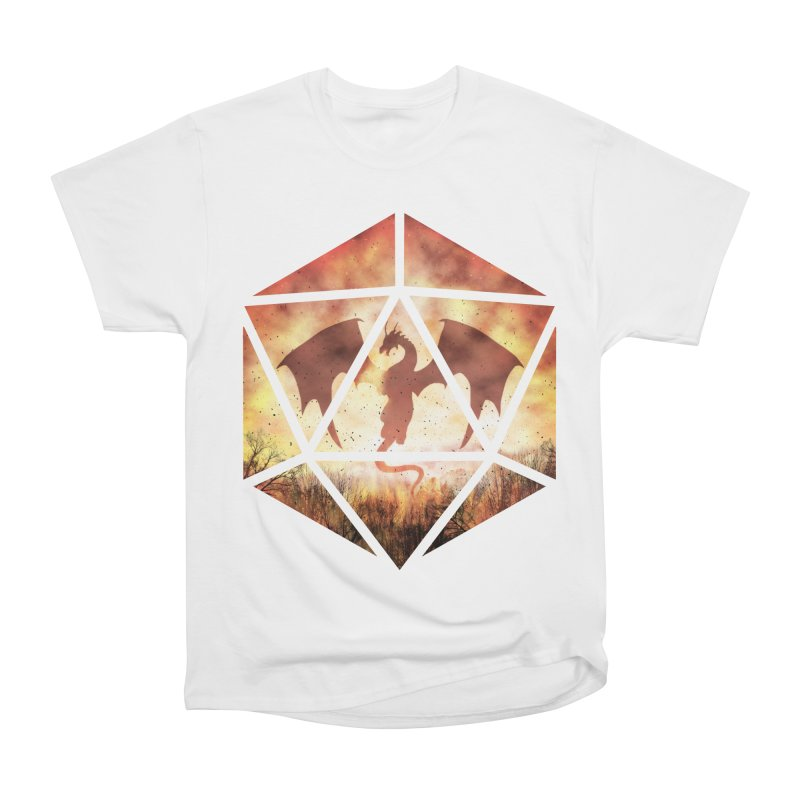 Fire Dragon D20 Men's Heavyweight T-Shirt by maratusfunk's Shop