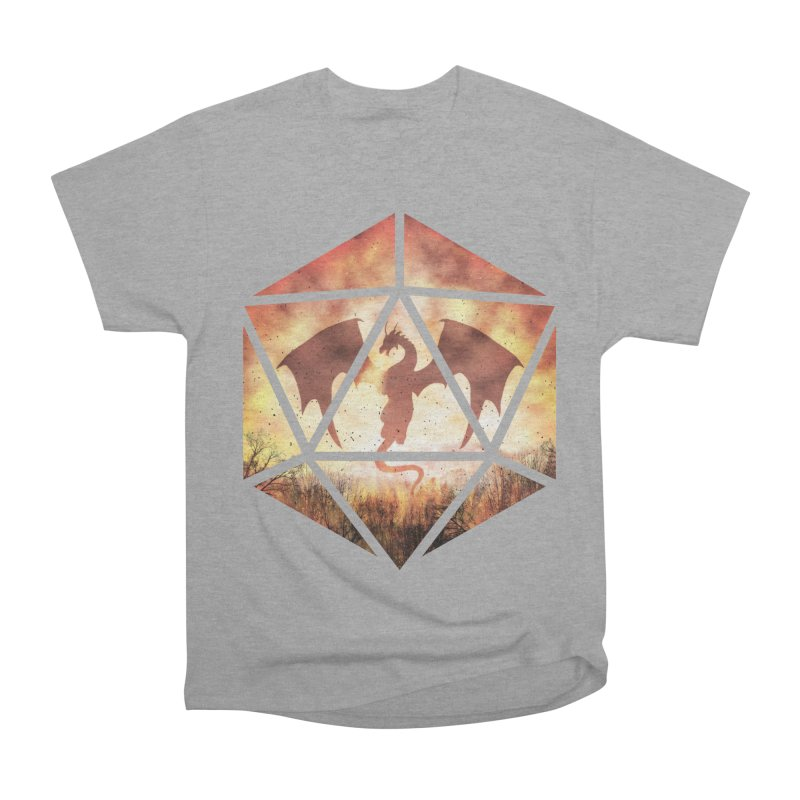Fire Dragon D20 Women's Heavyweight Unisex T-Shirt by maratusfunk's Shop