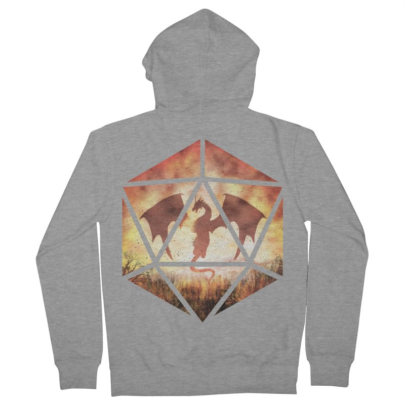 Fire Dragon D20 Men's French Terry Zip-Up Hoody by maratusfunk's Shop