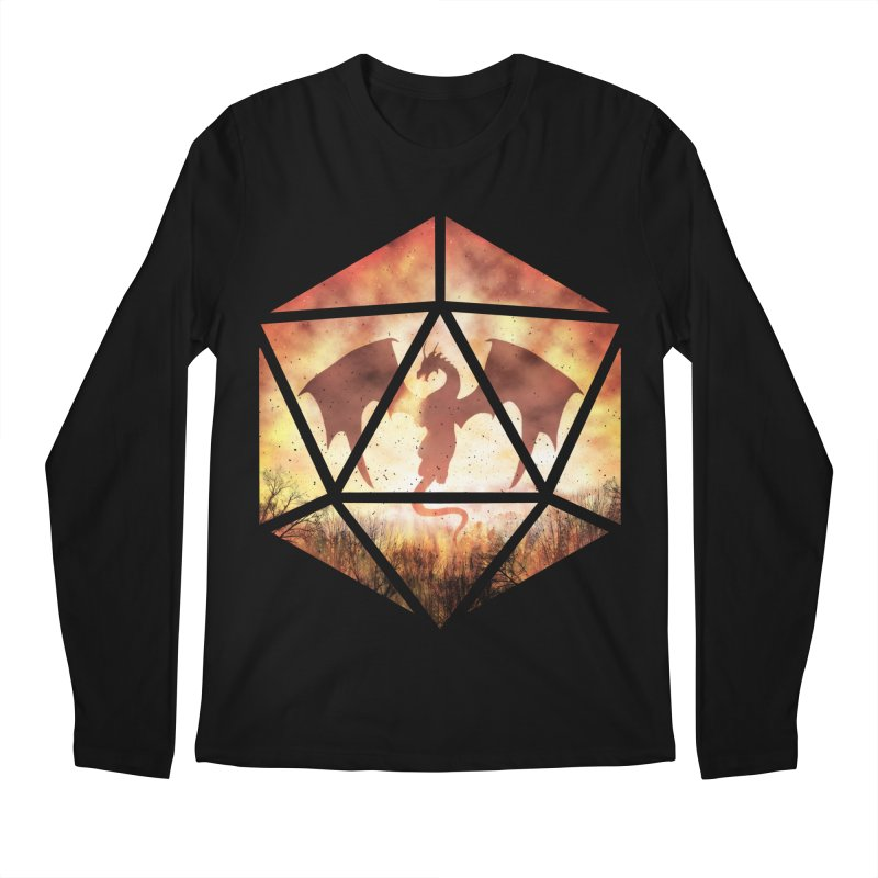 Fire Dragon D20 Men's Regular Longsleeve T-Shirt by maratusfunk's Shop