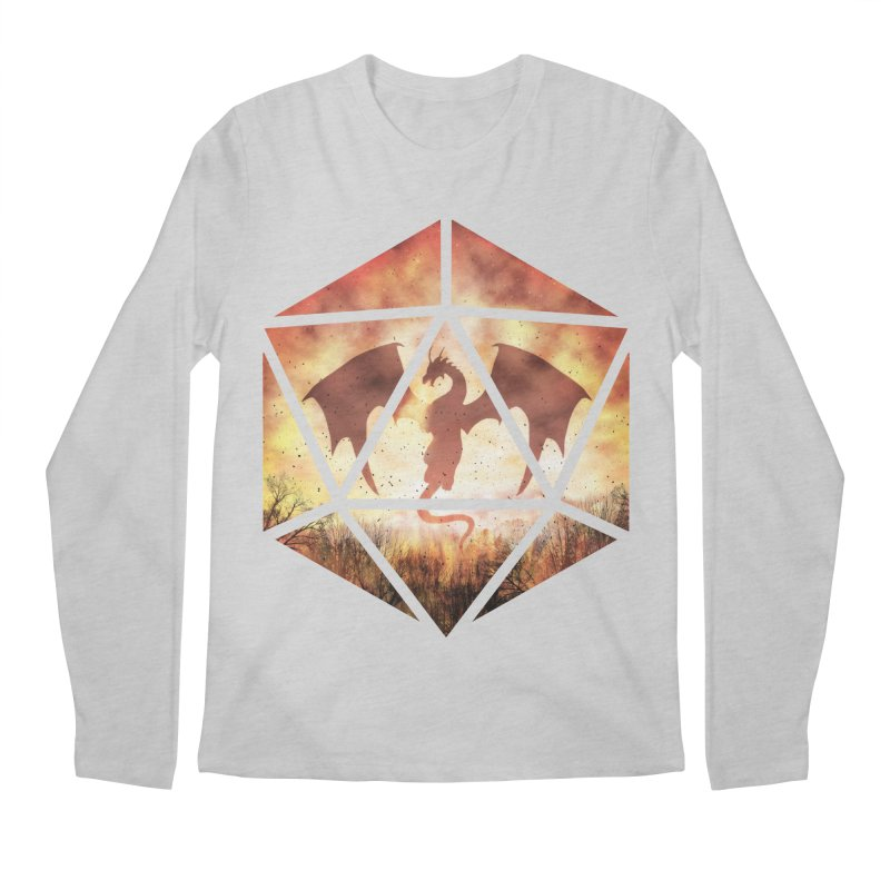 Fire Dragon D20 Men's Regular Longsleeve T-Shirt by maratusfunk's Shop