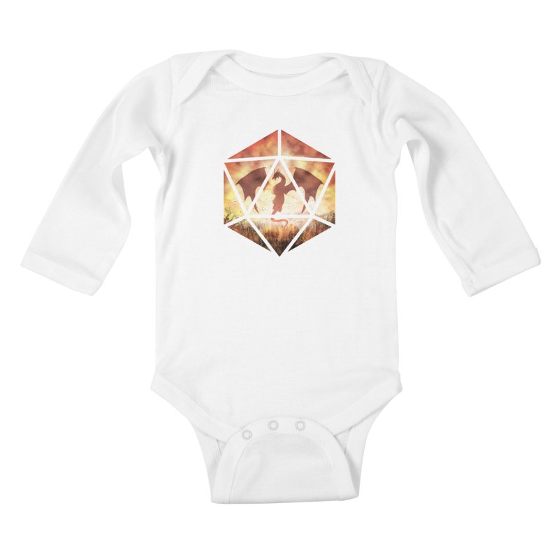 Fire Dragon D20 Kids Baby Longsleeve Bodysuit by maratusfunk's Shop