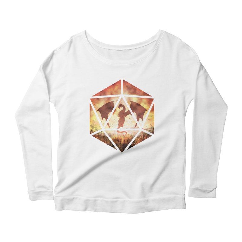 Fire Dragon D20 Women's Scoop Neck Longsleeve T-Shirt by maratusfunk's Shop