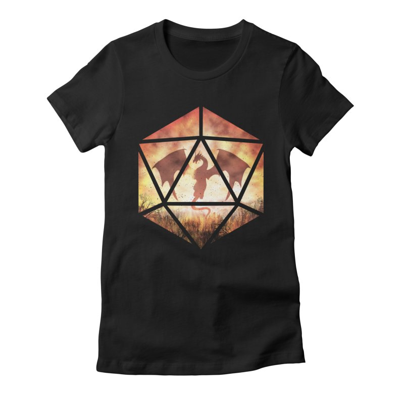 Fire Dragon D20 Women's Fitted T-Shirt by maratusfunk's Shop