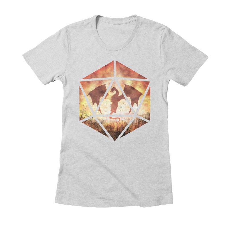Fire Dragon D20 Women's Fitted T-Shirt by maratusfunk's Shop
