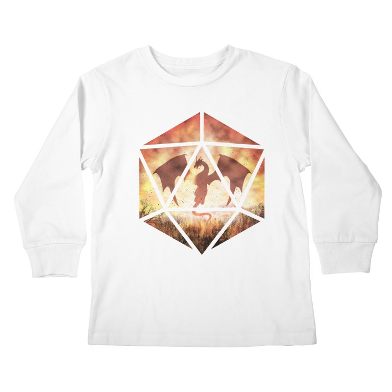 Fire Dragon D20 Kids Longsleeve T-Shirt by maratusfunk's Shop