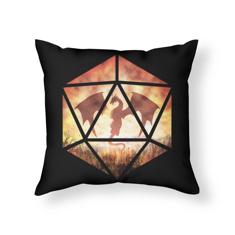 Fire Dragon D20 Home Throw Pillow by maratusfunk's Shop
