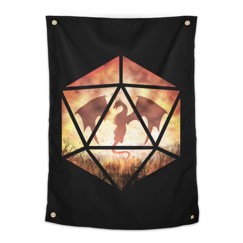 Fire Dragon D20 Home Tapestry by maratusfunk's Shop