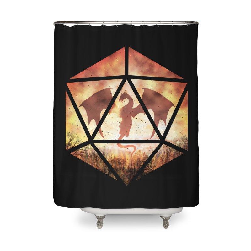 Fire Dragon D20 Home Shower Curtain by maratusfunk's Shop