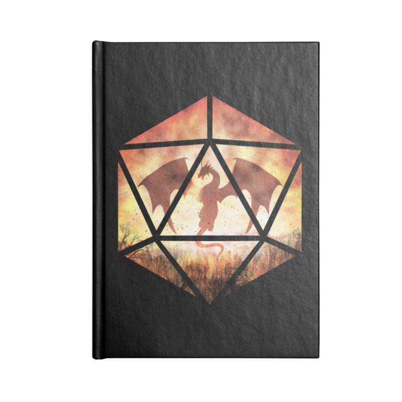 Fire Dragon D20 Accessories Lined Journal Notebook by maratusfunk's Shop