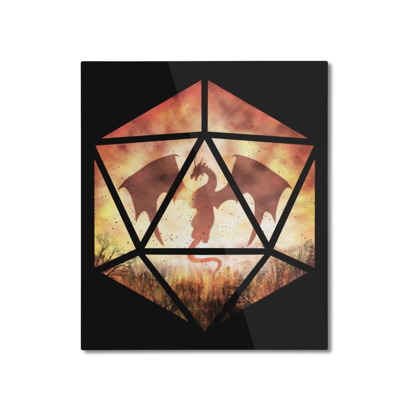 Fire Dragon D20 Home Mounted Aluminum Print by maratusfunk's Shop