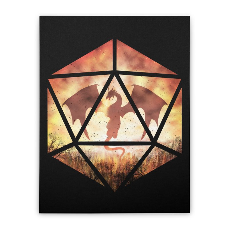 Fire Dragon D20 Home Stretched Canvas by maratusfunk's Shop