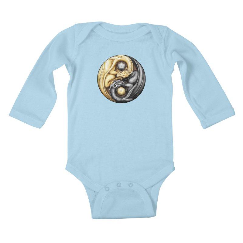 Balanced Dragons D20 Kids Baby Longsleeve Bodysuit by maratusfunk's Shop