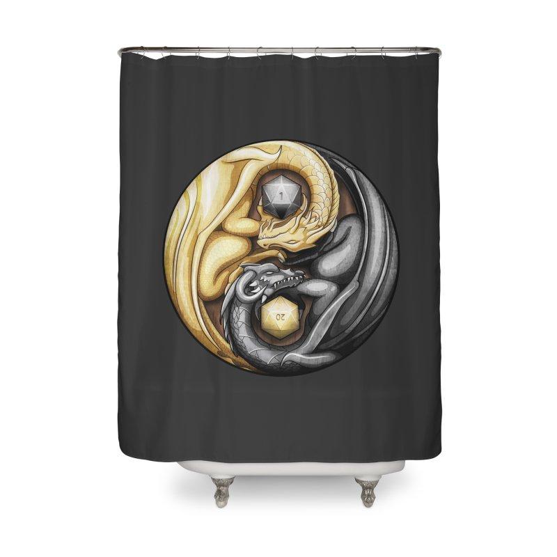 Balanced Dragons D20 Home Shower Curtain by maratusfunk's Shop