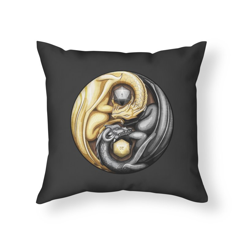 Balanced Dragons D20 Home Throw Pillow by maratusfunk's Shop