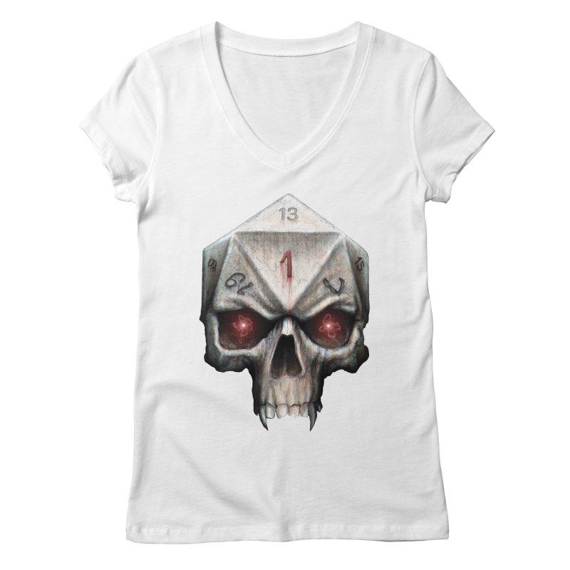 Skull D20 Women's Regular V-Neck by maratusfunk's Shop