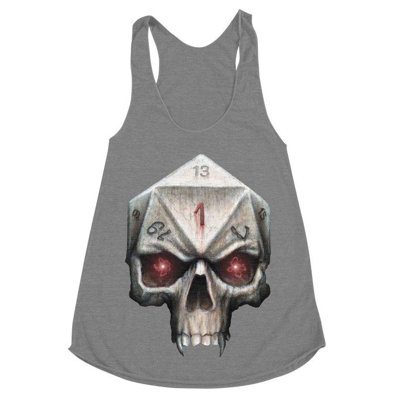 Skull D20 Women's Racerback Triblend Tank by maratusfunk's Shop