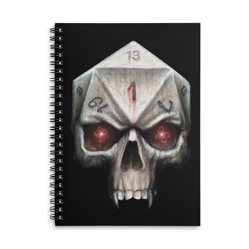 Skull D20 Accessories Lined Spiral Notebook by maratusfunk's Shop