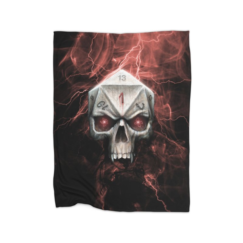 Skull D20 Home Fleece Blanket Blanket by maratusfunk's Shop