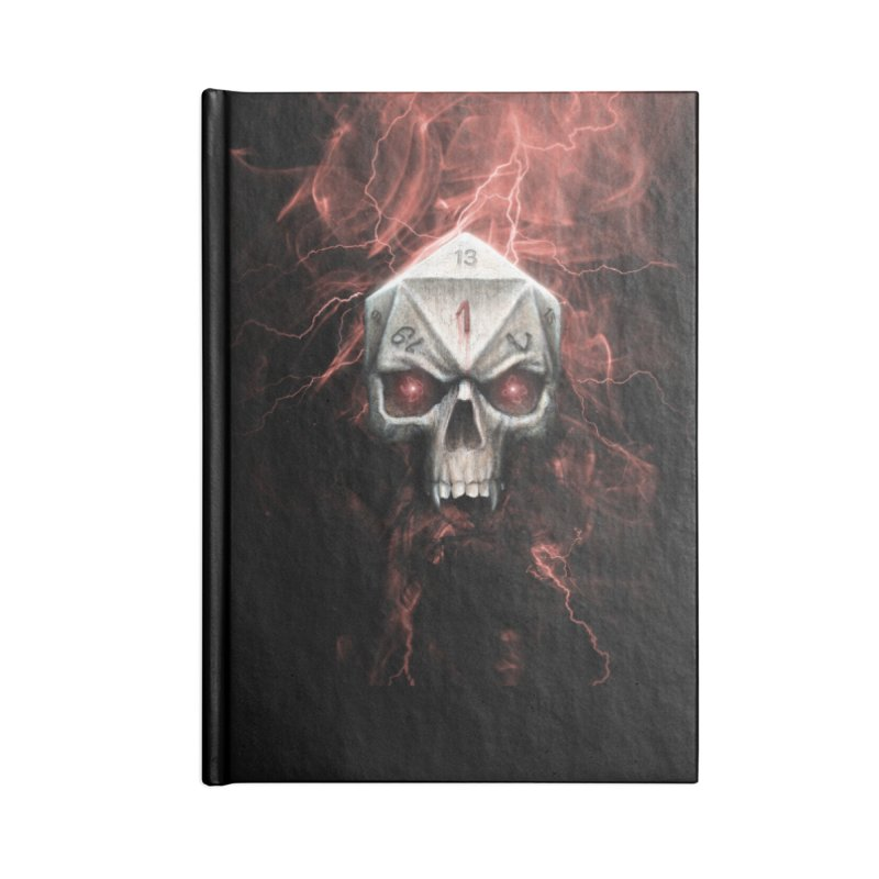 Skull D20 Accessories Lined Journal Notebook by maratusfunk's Shop