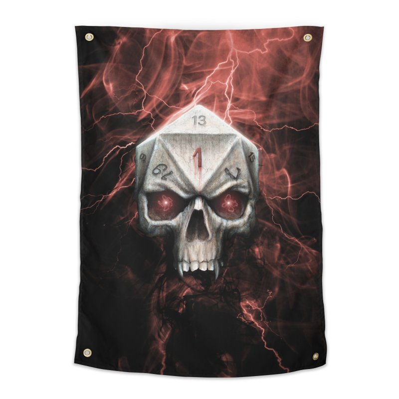 Skull D20 Home Tapestry by maratusfunk's Shop